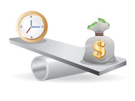 het concept van evenwicht tussen tijd en geld