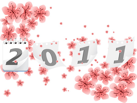 the floral  background  of New Years 2011 Vector