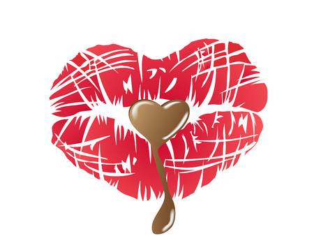 kissing lips with chocolate for Valentine's Day Stock Vector - 8640360