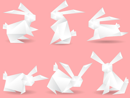 wild rabbit: several paper rabbits for design