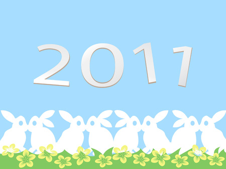 happy rabbit new year card for 2011 Vector