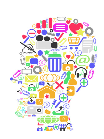 the head filled with colorful icons Stock Vector - 8711225