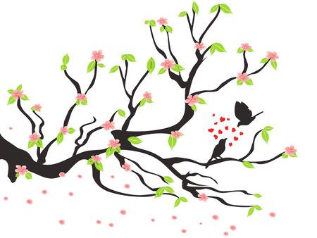 봄 매화 나무에 사랑하는 새들