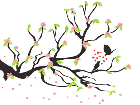 branch tree: loving birds on the spring plum tree