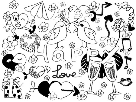 bird box: black doodle background for Valentines Day