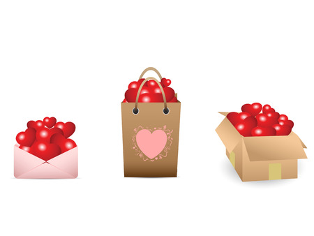 3 containers full of love hearts Vector