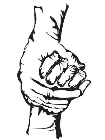 relaciones humanas: manos sosteniendo se�ala en forma de dibujo Vectores