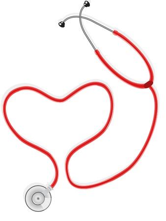 nursing treatment: Estetoscopio forman la forma de coraz�n Vectores