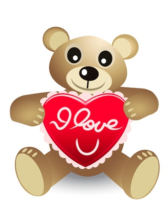 cute bear with red heart Vector