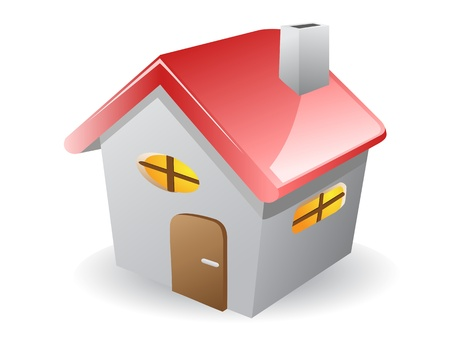 small roof: 3d vector house icon drew on white background