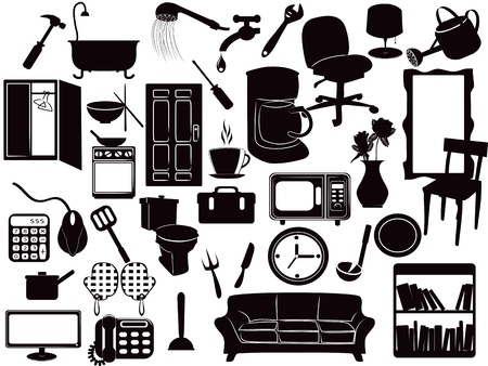 several Furniture icons for design 일러스트