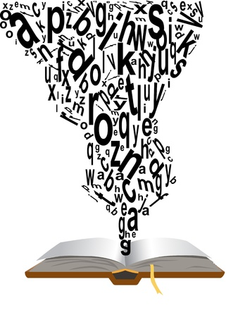 the concept of words coming from book Stock Vector - 8850524