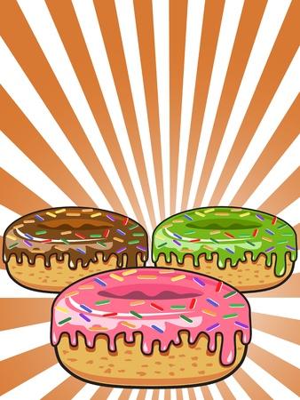 flavorful: 3 donuts on Sunburst background for design Illustration