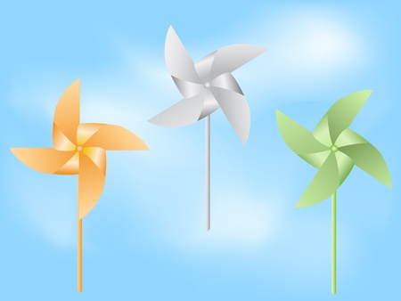 the background of paper windmill in blue sky Vector