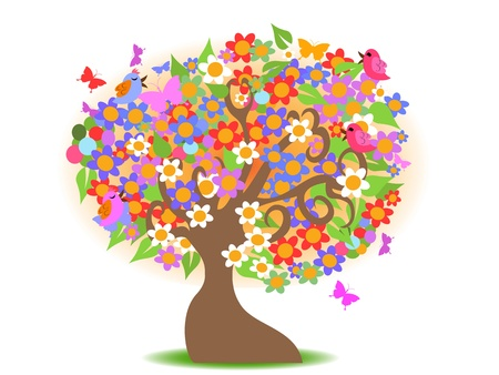 funky: spring tree with colorful flowers for design