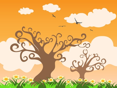 beautiful scene of tree and grass at sunset Stock Vector - 8850520