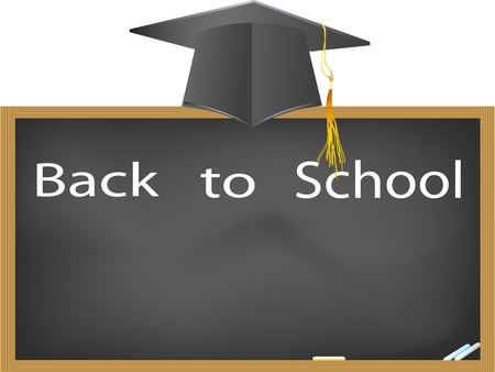 back to school- graduation cap hanging above the blackboard Vector