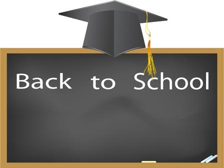 back to school- graduation cap hanging above the blackboard Vector