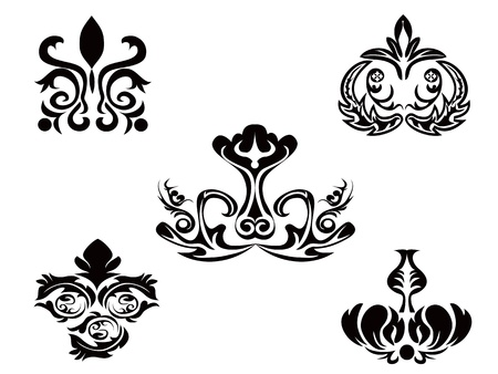 black abstract floral pattern Stock Vector - 8871098