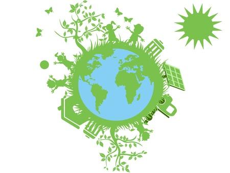 ni�os reciclando: Globo Verde eco