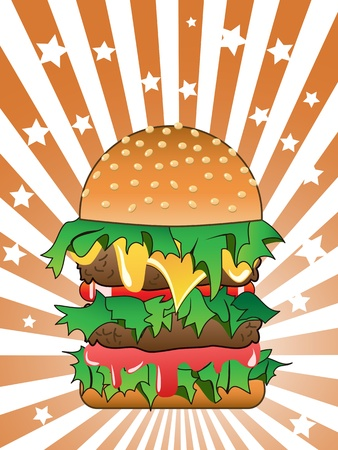 hamburger on Sunburst background Stock Vector - 8871102
