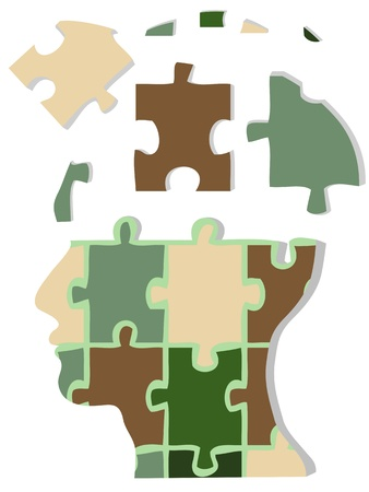 mental illness: Camouflage jigsaw head
