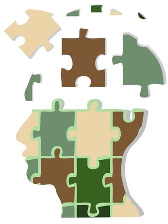 resoudre probleme: T�te de jigsaw de camouflage