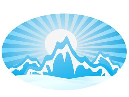 montagna: Catena montuosa di ghiaccio con cornice rotonda Vettoriali