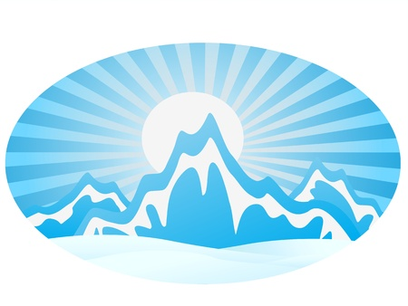 the mountain range: ice Mountain Range with round frame