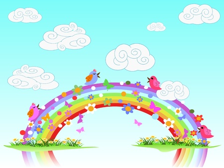 colorful spring rainbow Stock Vector - 8871104