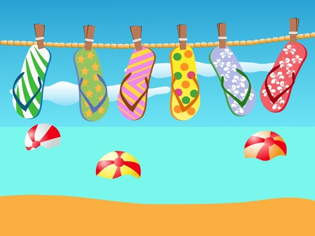 colorful flip-flops hanged on a rope Vector