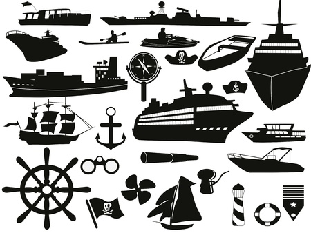 black sailing objects icon set Vector
