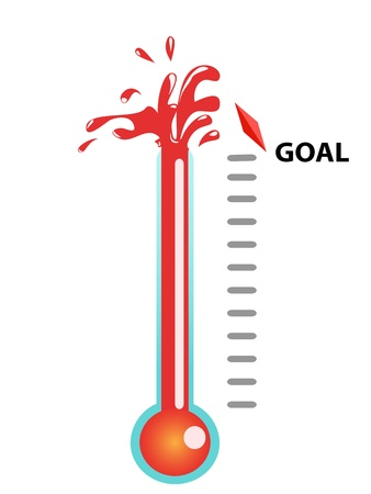fundraiser: Thermometer graphic showing breaking the goal