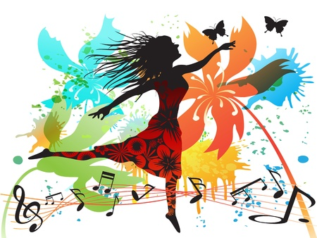 happy people: a woman dancing in the spring Illustration