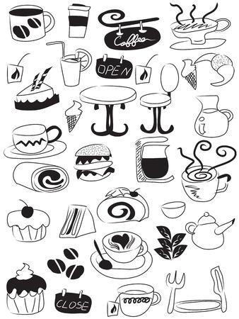 tarde de cafe: Doodle dibujo de iconos de caf� y t�  Vectores