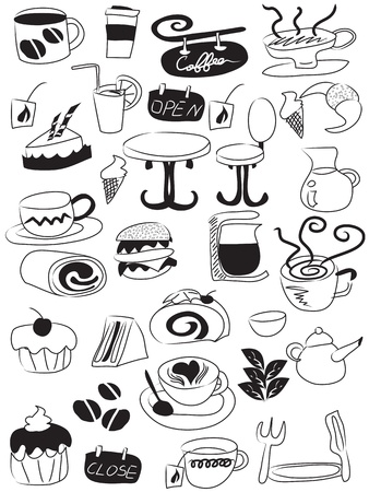 ice tea: doodle drawing of coffee and tea icons