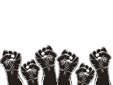 revolution: fists with copy space above on white background Illustration