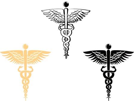 aesculapius: 3 diverso stile di simbolo medica Vettoriali