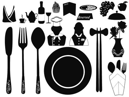 fork glasses: diversi set di oggetti ristorante per il design Vettoriali