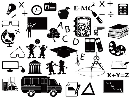 college girl: education black icon set for web design
