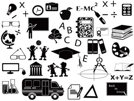 high school girl: education black icon set for web design
