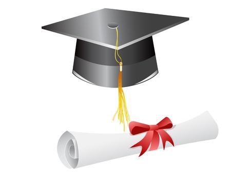 졸업 모자 졸업장 흰색 배경에 고립 된 일러스트