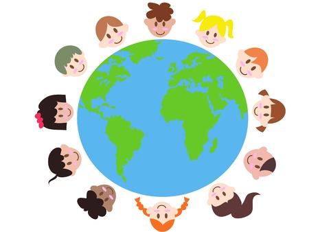 amor al planeta: varios ni�os alrededor de la tierra significa paz mundial