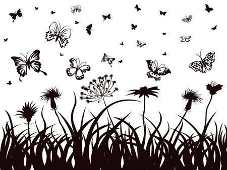 de achtergrond van de silhouetten van vlinders, bloemen en gras