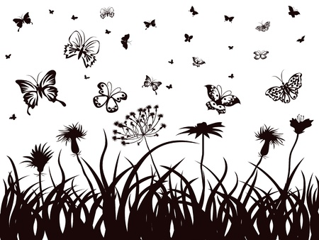 the background of silhouettes of butterflies, flowers and grass  Vector