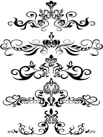 elegance silhouette: some beautiufl black ornaments for design