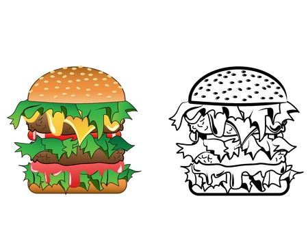 Cartoon image of a variety of cheeseburger - both color and black  white versions Vector
