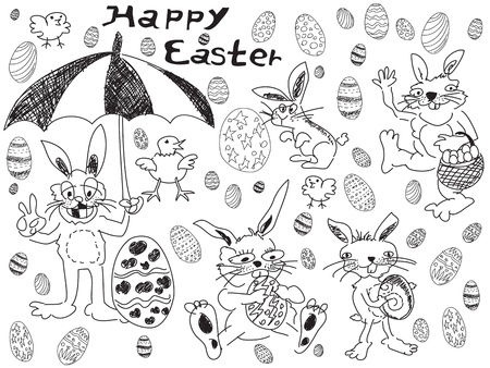 doodle easter drawing for easter day Vector