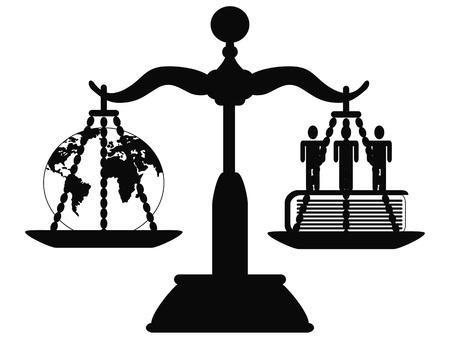 het symbool van Justitie op de schaal