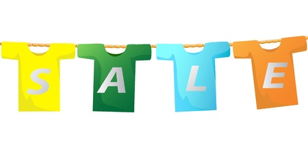 the sale sign on T-shirt hanging on the rope Illustration
